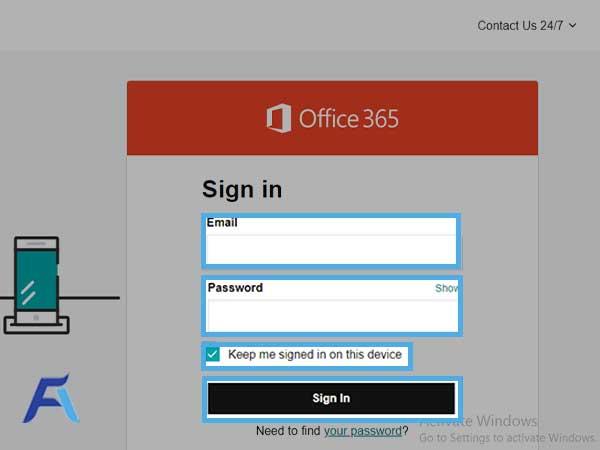 login to your GoDaddy Microsoft account